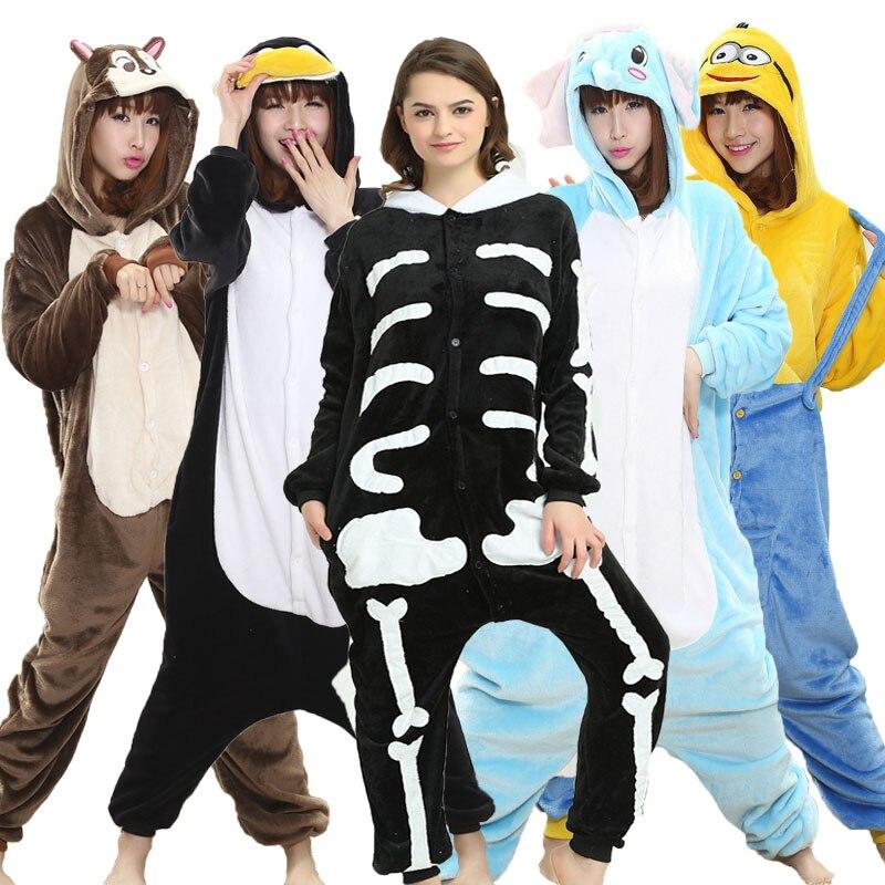 Skull Onesie Adult Women Scary Skeleton Pajamas Flannel Warm Loose Soft Sleepwear Onepiece Winter Jumpsuit Cosplay