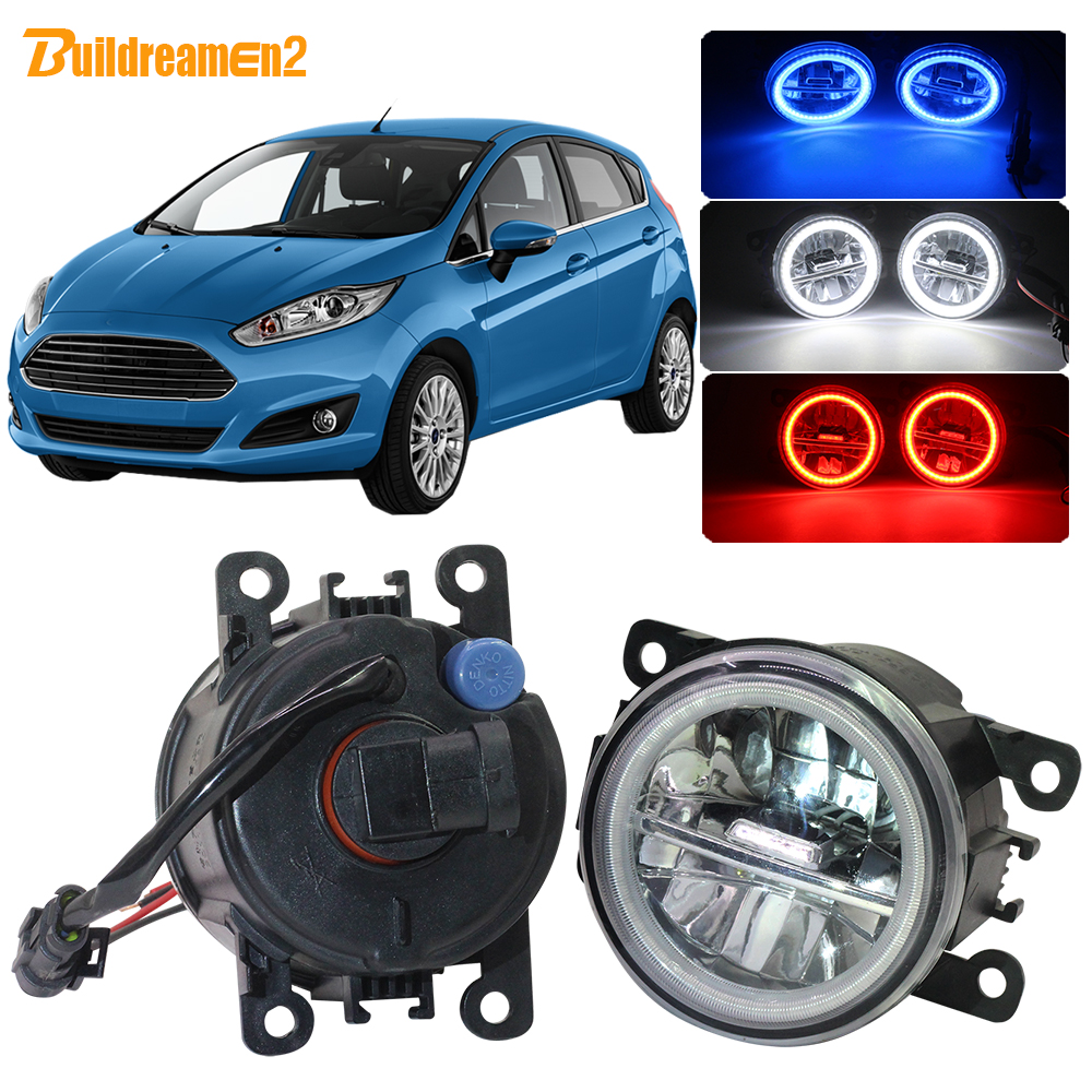 Buildreamen2 For <font><b>Ford</b></font> <font><b>Fiesta</b></font> 2001-2015 Car <font><b>Accessories</b></font> LED Fog Light 4000LM Angel Eye DRL Daytime Running Light 12V High Bright image