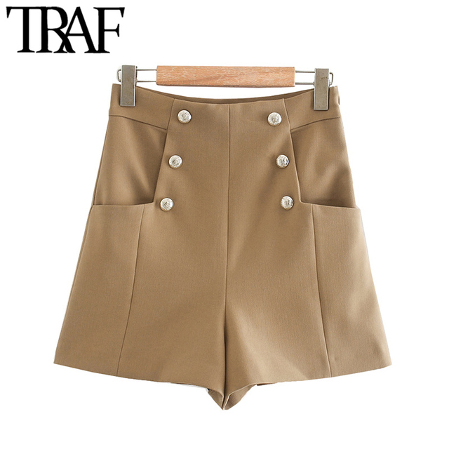 TRAF Women Chic Fashion With Buttons Pockets Bermuda Shorts Vintage High Waist Side Zipper Female Short Ropa Mujer 1