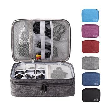Waterproof Travel Storage Bag Electronic Digital Organizer USB Cable Earphone Gadget Data