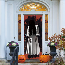 Halloween Horror Scary Door Sticker Female Ghost Creative 3d Door Sticker Holiday Party Team Home Decor Wall Sticker scary ghost 3d broken wall art sticker