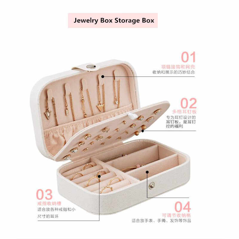 女性の PU レザージュエリーボックス収納ボックスリングディスプレイポータブル収納ボックスネックレスジュエリーのストレージオーガナイザー