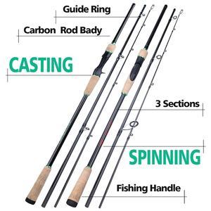 Image 3 - Soogayilang caña de pescar de fundición giratoria con 3 secciones, 1,8 2,4 M, ultraligera, portátil, para viaje