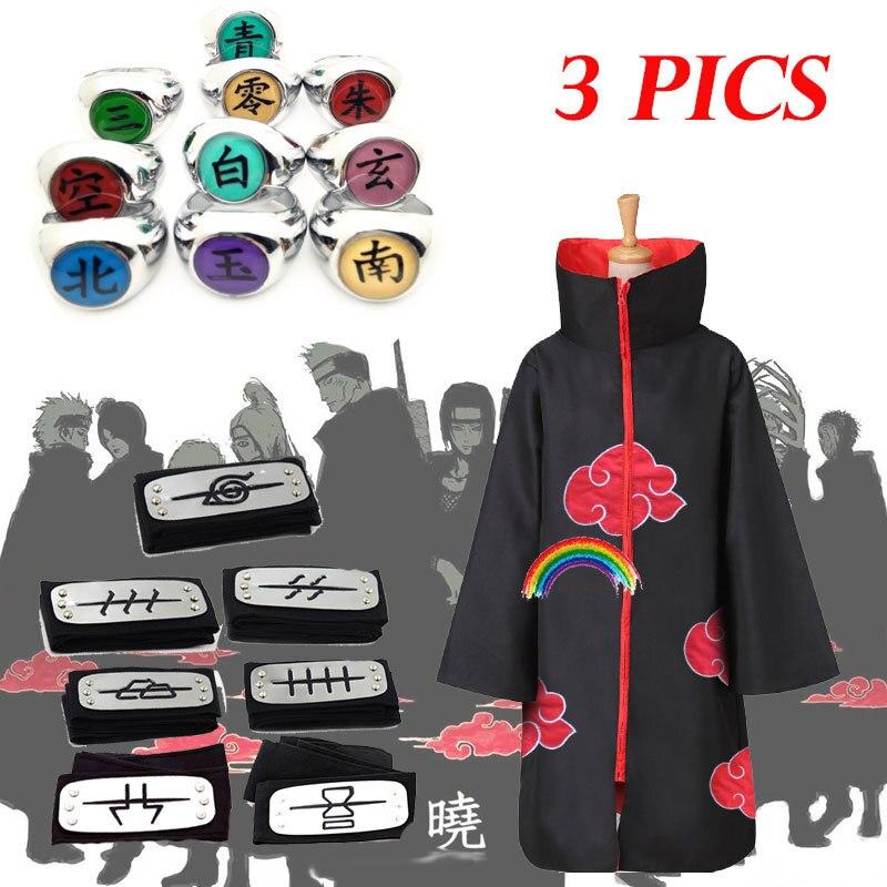 3 PICS Costume Akatsuki Cloak Cosplay Sasuke Uchiha Cape Cosplay Itachi Clothing costume Akatsuki ALL MEMBERS 11SETS