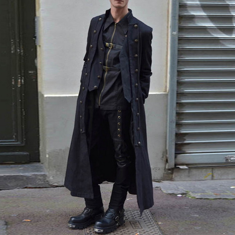 2019 Mens Medieval Jacket Coats Pirate Costume Tailcoat  Renaissance Adult Steampunk Gothic Halloween Coats Double Button Coats