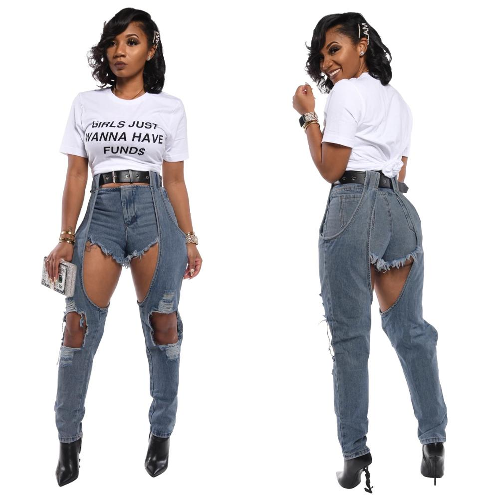 Blue Sexy Denim Jeans Womens With Holes 2020 New Spring Streetwear High Waist Pencil Pants Bottoms Wash Distressed Jean Trousers Jeans Aliexpress