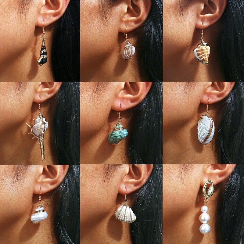 European and American cross-border special creative retro color shell  edge Earrings New Beach conch Earrings