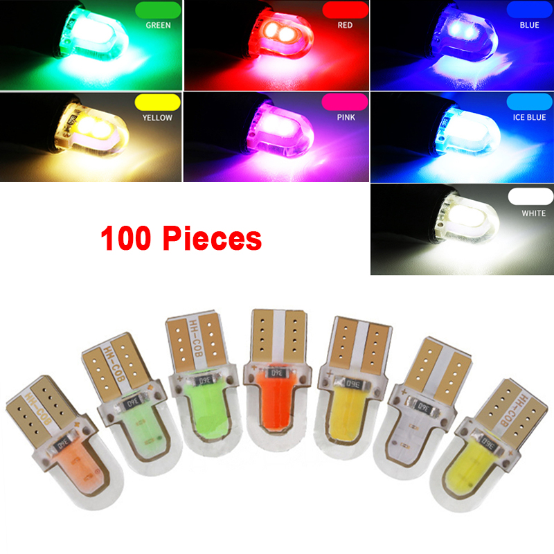 <font><b>100pcs</b></font> <font><b>t10</b></font> led w5w led <font><b>canbus</b></font> car interior light 4smd 12v auto clearance lights bright license plate lamps COB instrument light image