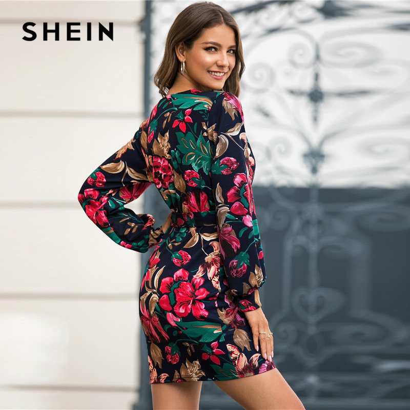 SHEIN V Neck Floral Print Casual Belted Pencil Dress Women Autumn Streetwear High Waist Multicolor Long Sleeve Short Dresses 2