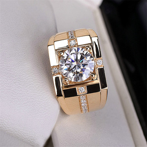 Classic High Carbon Men'S Ring Imitation Moissanite Gold Plating Domineering Wedding Ring Wholesale Rings for Men Gift