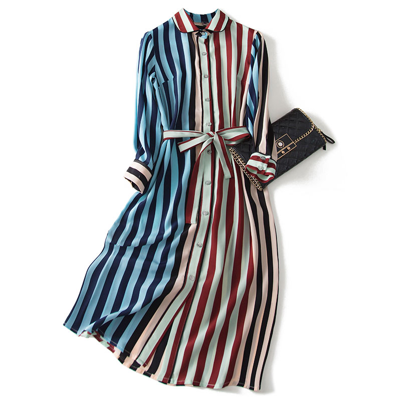 2020 New Spring Autumn Real Silk Dress Women Korean Vintage Striped Long Sleeves Vestidos Elegant Office Ladies Belt Dresses 399