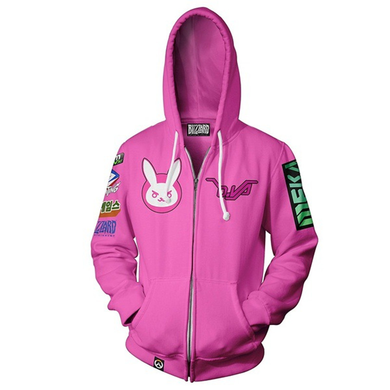 Anime Game Hoodie Sweatshirt 3d Digital Printing Overwatch DVA DJ Cosplay Costume Women Men Couple Hood Top Clothing New