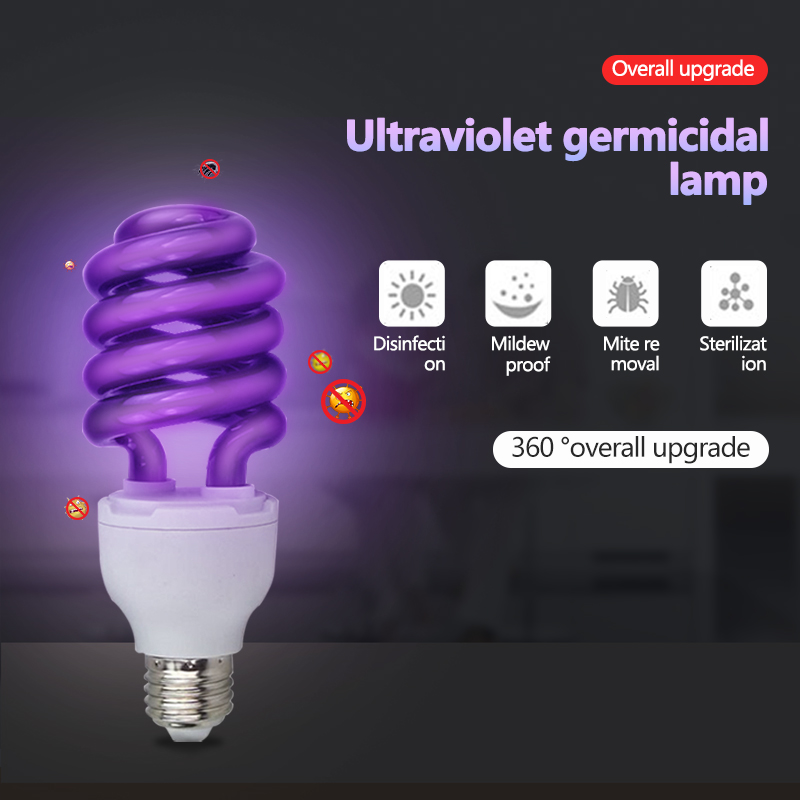 Hot <font><b>E27</b></font> <font><b>UV</b></font> Germicidal Light 40w UVC LED Sterilizer Lamp Household Bactericidal Lamp Ultraviolet Disinfection <font><b>Bulb</b></font> Prevention image