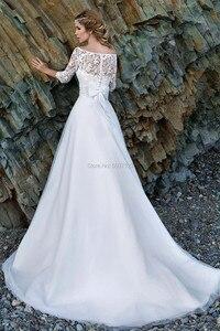 Image 2 - 2021 어깨에서 벗어난 해변 웨딩 드레스 긴 소매 레이스 아플리케 신부 웨딩 드레스 버튼 환상 Vestido De Noiva