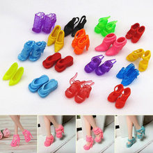 40pairs DIY Dress Prop Accessories Multiple Styles Gift Cute Doll Heel Shoes Mixed Colorful Silicone Kids Toy Mini Fashion(China)