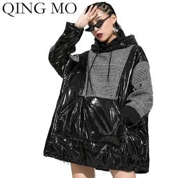QING MO Winter Women Hooded Sweatshirt 2020 Women Plaid Patchwork Sweatshirt Glossy Top Female Drawstring Sweatshirt ZQY2136 фото