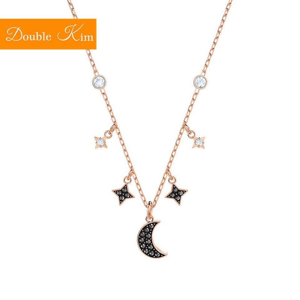 Star Moon Zircon Pendant Necklace Titanium Stainless Steel Material Inlaid Zircon Chain Necklaces Fashion Trendy Women Jewelry