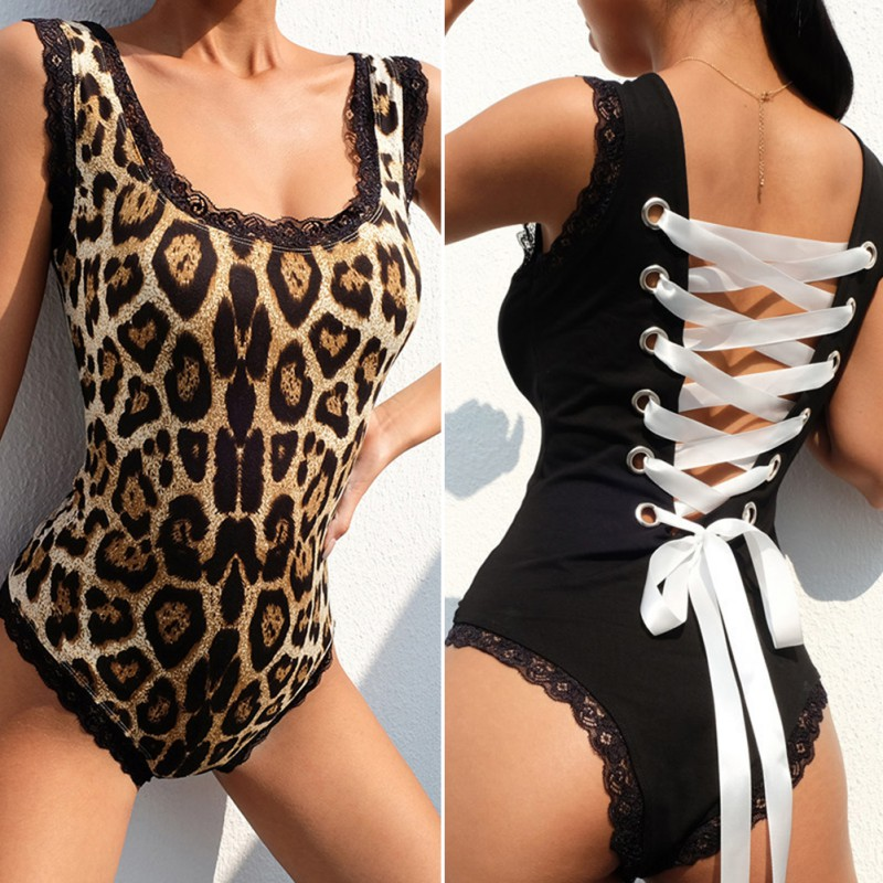 Sexy Bodysuit For Women Suspendres Back Tie Rope Lace Edge Lace Side Leopard Print Sleeveless Bodysuit 2020 Jumpsuit