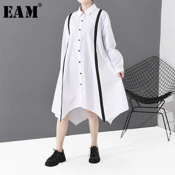 [EAM] Women White Line Big Size Asymmetrical Shirt Dress New Lapel Long Sleeve Loose Fit Fashion Tide Spring Autumn 2020 1S809