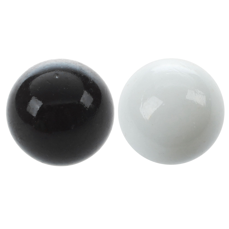 20 Pcs Marbles 16mm Glass Marbles Knicker Glass Balls Decoration Color Nuggets Toy, 10 Pcs Black & 10 Pcs White