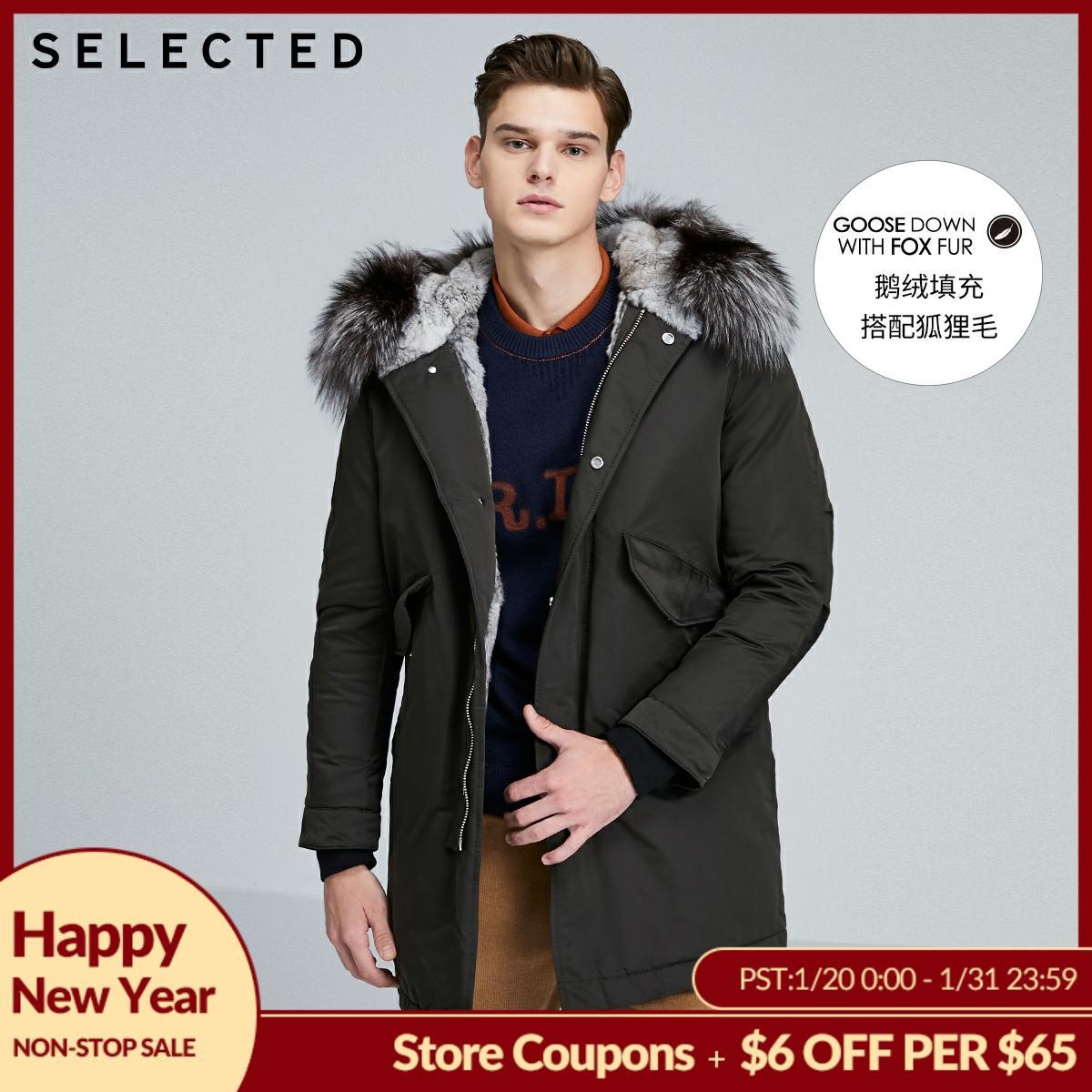 SELECTED Men's Mid-length Fox Fur Down Jacket S|419412504