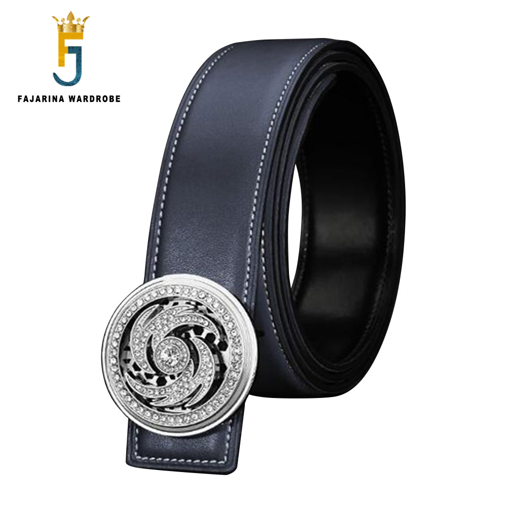 FAJARINA Unique Design Novelty Rotate Buckle Metal Cow Genuie Leather Belts Men Smooth Surface Both Sided Cowskin Belt LUFJ883