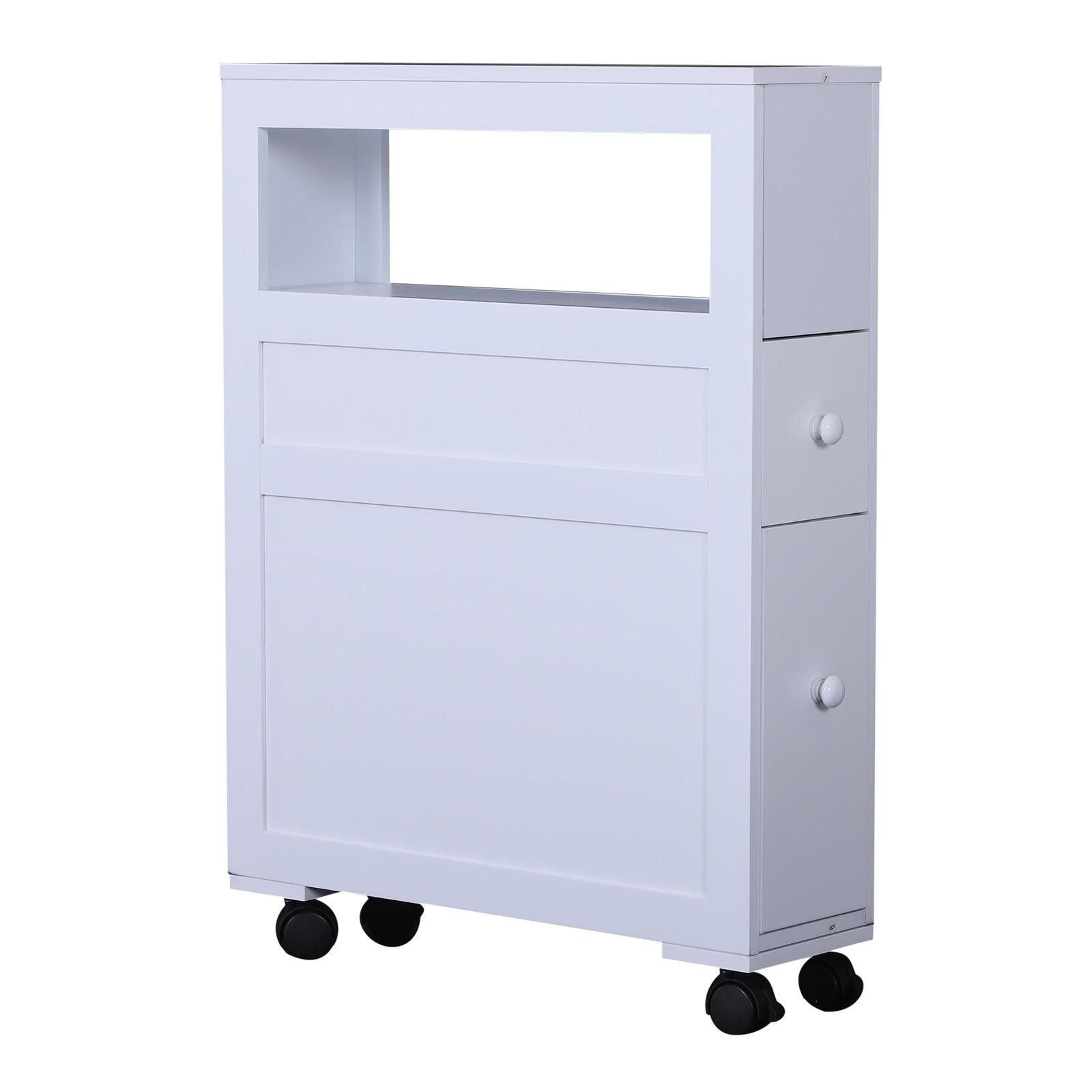HOMCOM Cabinet Bathroom 2 Drawer Space Saving With 4 Wheels Wood 16x52x66 Cm White