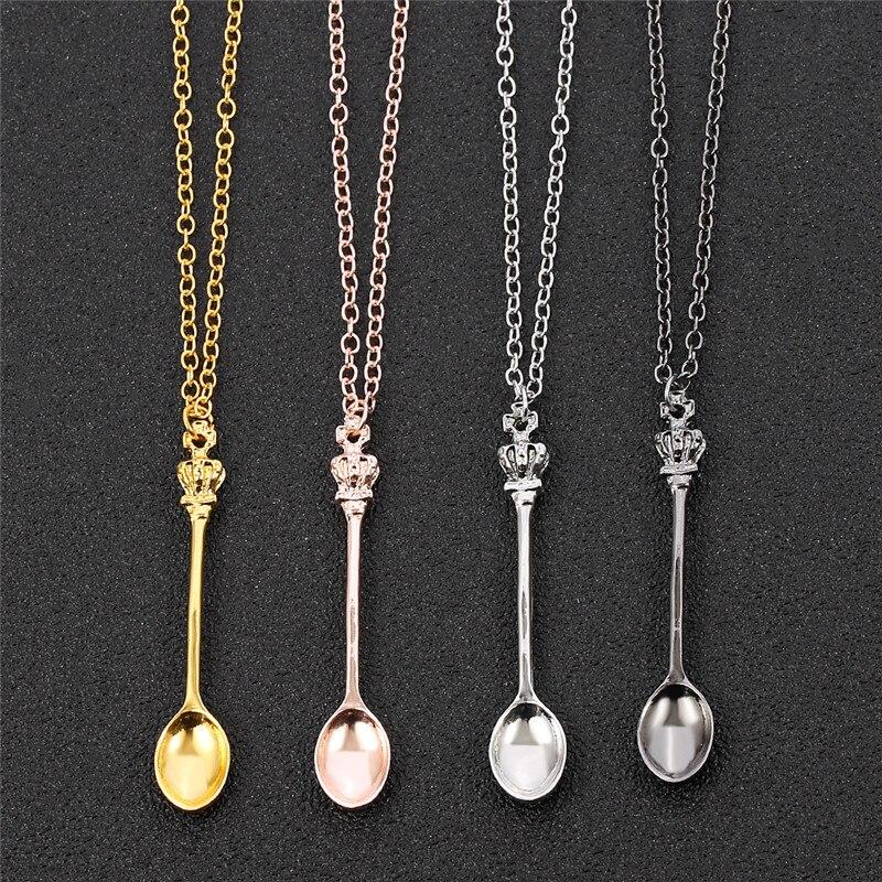 Очарование Маленькая чайная ложка Форма кулон ожерелье с украшением в виде короны для женщины 4 Цвета креативный мини длинная звеньевая лож...