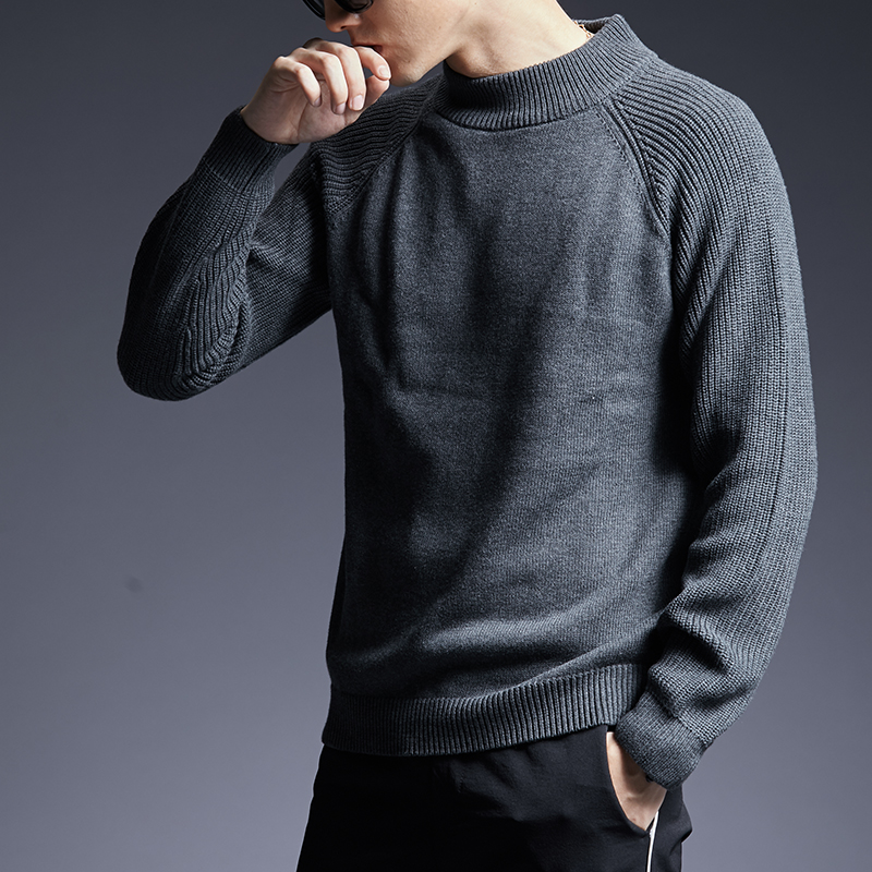 2019 New Fashion Brand Sweater Man Pullovers Turtleneck Slim Fit Jumpers Knitwear Thick Autumn Korean Style Casual Mens Clothes