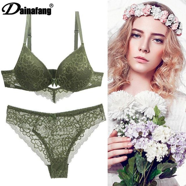 [Hot sales] New 2020 Lace Drill Bra Set Women Plus Size Push Up Underwear Set Bra And Thong Set 34 36 38 40 42BCD Cup For Female 3