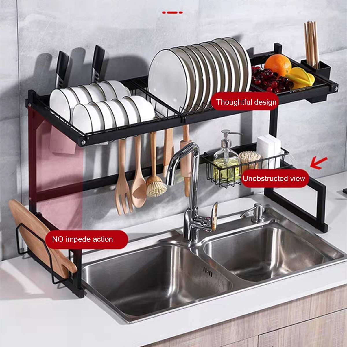 Kitchen Shelf Organizer Dish Drying Rack Over Sink Utensils Holder Bowl Dish Draining Shelf Kitchen Storage Countertop Organizer|Racks & Holders| |  - title=