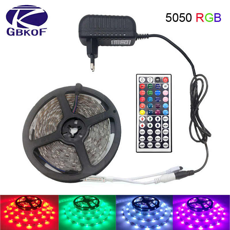 10 M 5 M 3528 5050 LED RGB luz de tira no impermeable luz led 10 M cinta flexible rgb diodo led set + Control Remoto + Power adaptador