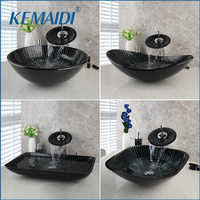 KEMAIDI New Bathroom Sink Hand Paint Washbasin Tempered Glass Basin Sink With Waterfall Faucet Taps Vessel Water Drain Set