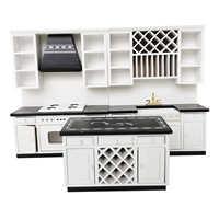 Casa de muñecas a escala 1:12 de madera de abedul, moderno armario de cocina, estufa, fregadero, juego de lavabo, muebles de comedor, juguetes en miniatura