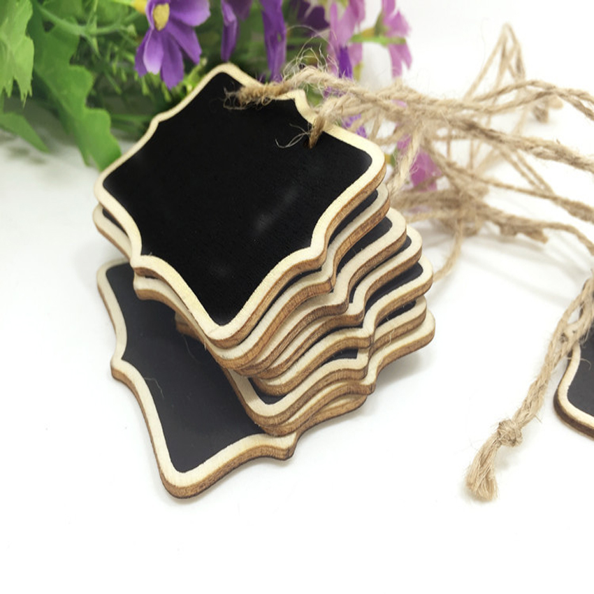 1pcs/Lot Mini Rectangle Chalkboards Hemp Rope Hanging Wooden  Message Board For Wedding Party Painting Decoration 6*8cm