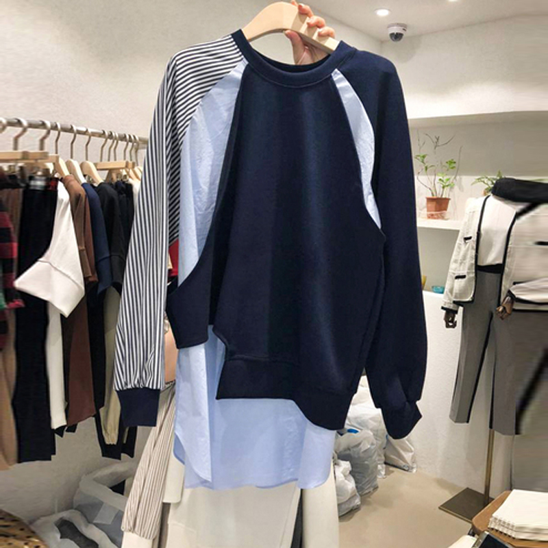 Sweatshirt Women 2020 Spring Autumn New Color Patch Irregular Personality Pullovers Female Clothes Hoodies Hoodie Student Tops
