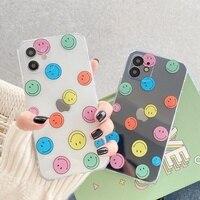 Nette Welle Punkt Lächeln Gesicht Telefon Fall Für iPhone 12 Mini 11 Pro Max XS XR 12Pro SE 2020 7 8 Plus X Klar Silikon Weiche TPU Abdeckung