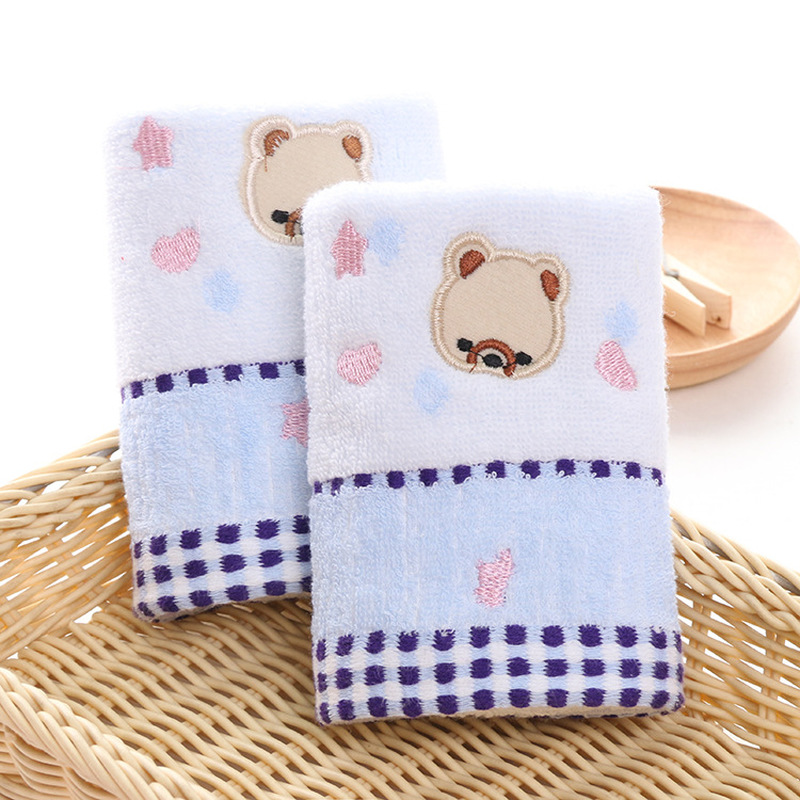 1PC 25*50cm baby cartoon bear soft towel high quanlity cotton baby printing washcloth handkerchief kids feeding wipe cloth towel