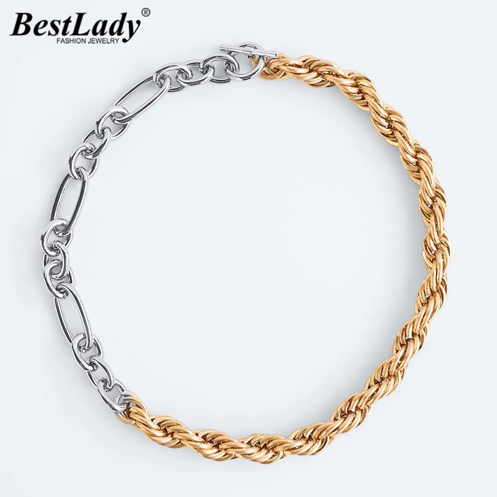 Лучшие женские новые классические смешанные звенья ожерелья для женщин трендовые металлические Макси хип-хоп золотые цветные ошейники Под...