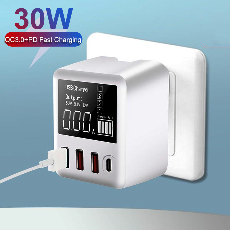 30W Quick Charge 3.0 USB Charger PD Type C HUB LED Display Wall Charger Fast Mobile Phone Charger For iPhone Samsung USB Adapter