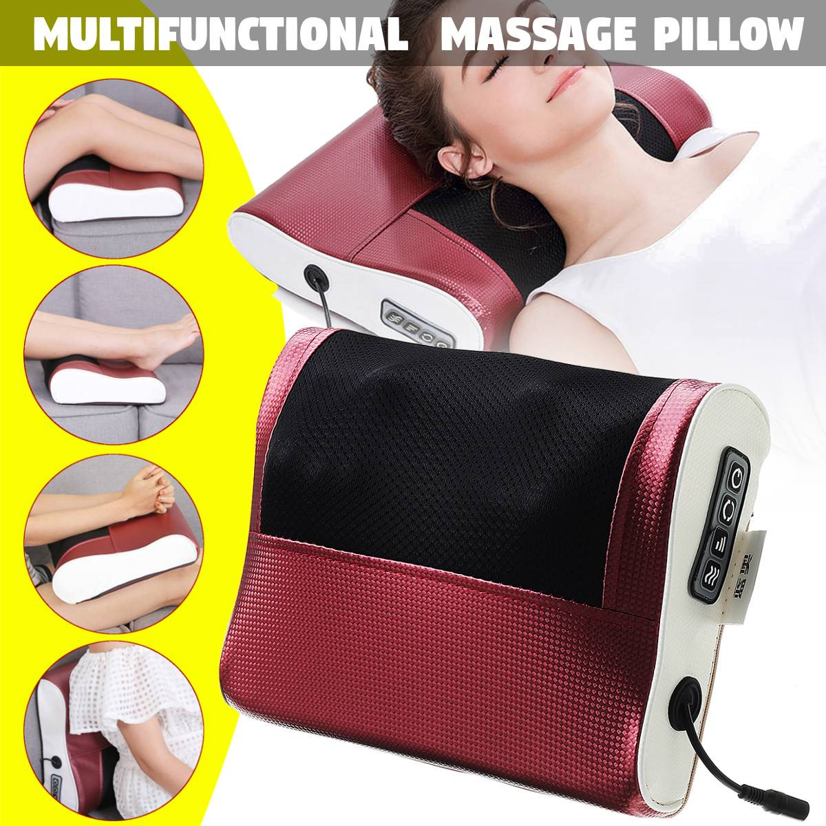 New Infrared Heating Neck Shoulder Back Body Electric Massage Pillow Shiatsu Massager Device Cervical Healthy Relaxation 2019