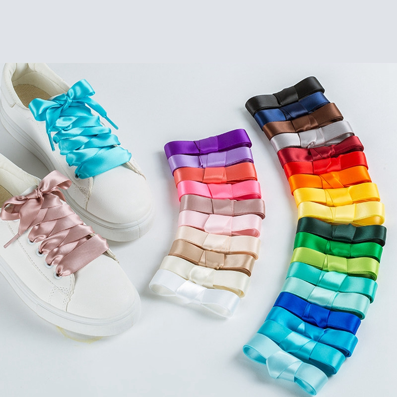 1 Pair 22 Colors Silk Satin Shoelaces 2 CM Width Flat Ribbon Shoe Laces Boots Women Sneakers Shoelace Length 80CM 100CM 120CM S1