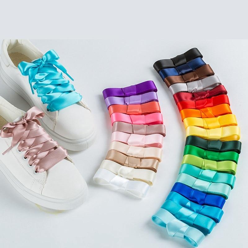 1 Pair 22 Colors Silk Satin Shoelaces 2 CM Width Flat Ribbon Shoe Laces Boots Women Sneakers Shoelace Length 80CM 100CM 120CM S1