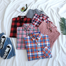 Mooirue Women Tops 2019 Autumn Vintage Plaid Blouse Turn Down Collar Pocket Casual Streetwear Korean Style Arajuku Shirts girls plaid blouse 2019 spring autumn turn down collar teenager shirts cotton shirts casual clothes child kids long sleeve 4 13t