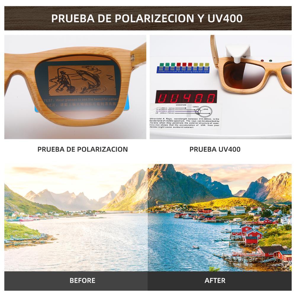 GM Vintage Bambu Kayu Kacamata Buatan Tangan Terpolarisasi Cermin - Aksesori pakaian - Foto 6
