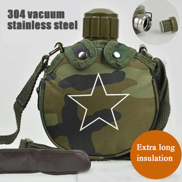 800ML Stainless steel bottle Vacuum flask Portable outdoor kettle Insulation pot military fan kettle with strap Thermal flask 3
