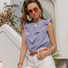 Simplee Casual women sleeveless plaid blouse ruffled O-neck office lady shirts button Elegant streetwear female vest summer 2021