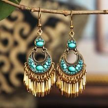2020 New Fashion Women Earrings Bohemian Vintage Ethnic Style Bead Dangle Earrings Boucle D'oreille Boho Jewelry women fashion bohemian ethnic fringed tassel earrings circle three dimensional flowersdrop dangle earrings