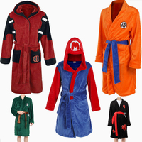 Autumn&Winter Unisex Mario Cosplay Costume Bathrobe Naruto Uchiha Itachi Flannel Pajamas Adult Robe Dragon Ball Attack On Titan