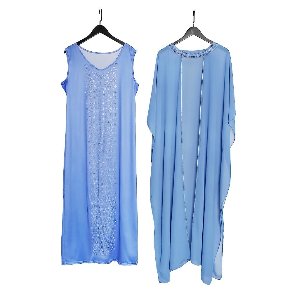 MD Gold Sparkling Evening Dress Muslim Sets Sling Dress Abaya Dubai Turkey Luxury Caftan Marocain 2021